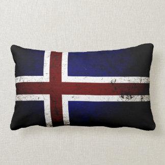 De zwarte Vlag van Grunge IJsland Lumbar Kussen
