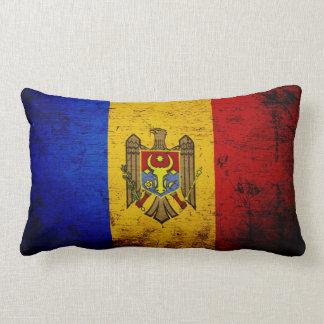 De zwarte Vlag van Grunge Moldova Lumbar Kussen