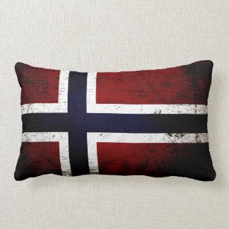 De zwarte Vlag van Grunge Noorwegen Lumbar Kussen