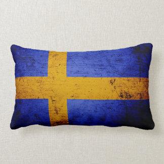 De zwarte Vlag van Grunge Zweden Lumbar Kussen
