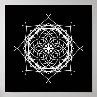 De zwarte Witte Abstracte Caleidoscoop van de Poster