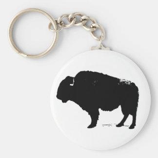 De zwarte & Witte Bizon van de Buffels van het Basic Ronde Button Sleutelhanger