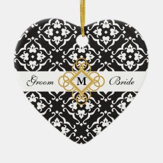 De zwarte & Witte BloemenHerinnering van het Keramisch Hart Ornament