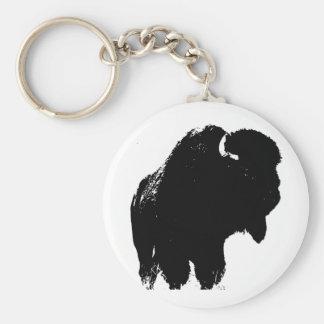 De zwarte & Witte Buffels van de Bizon van het Basic Ronde Button Sleutelhanger