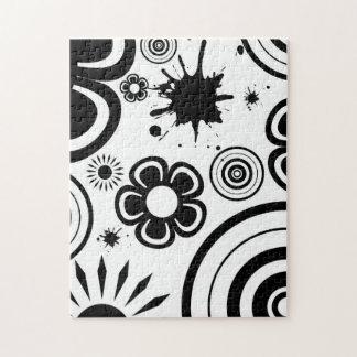 De zwarte & Witte Capricieuze Bloemen, Cirkels, Puzzel