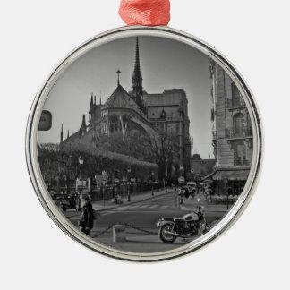 De zwarte & Witte dame van Parijs notre Zilverkleurig Rond Ornament