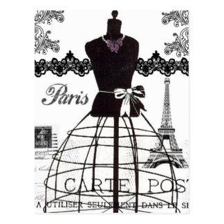De zwarte Witte Ledenpop van de Mode van Parijs Briefkaart