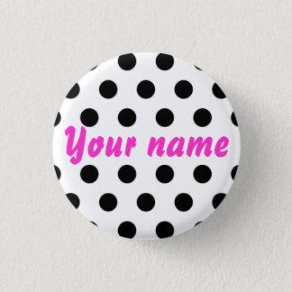 De zwarte Witte Naam van Stippen Ronde Button 3,2 Cm