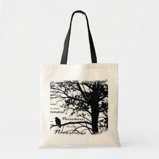 De zwarte & Witte Nevermore Boom van het Silhouet  Draagtas