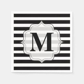 De zwarte Witte Servetten van het Monogram van S