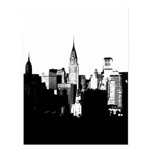 De zwarte witte stad van new york wenskaart