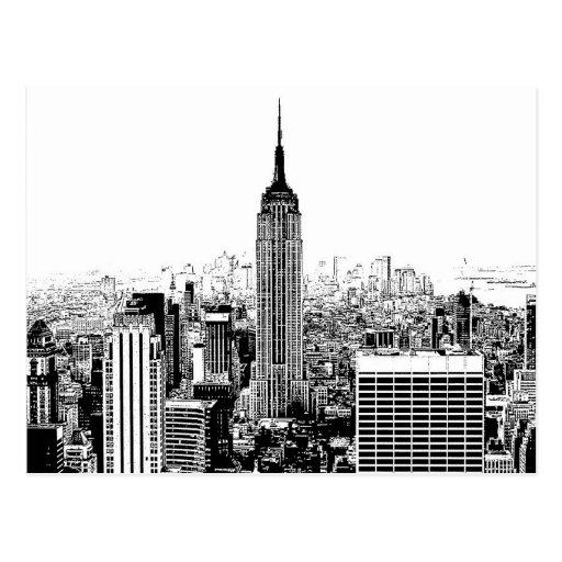De zwarte witte stad van new york wens kaarten