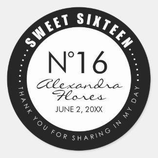 De zwarte & Witte Sticker van het Etiket van 16