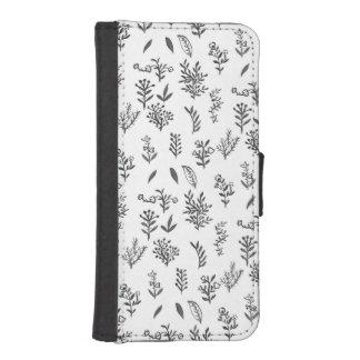 De zwarte witte waterverf bloeit bladerenpatroon iPhone 5 portefeuille hoesjes
