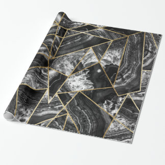 De zwarte Witte Zwarte Gouden Geometrische Inpakpapier