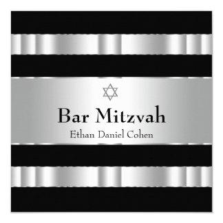 De zwarte Zilveren Bar mitswa van de Jodenster 13,3x13,3 Vierkante Uitnodiging Kaart