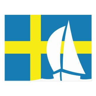 De Zweedse Varende Boot Zweden van de Vlag Briefkaart
