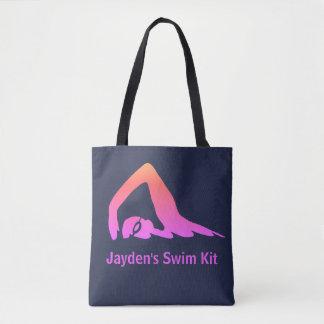 De zwemmer van het vrije slag, roze, zwemt draagtas
