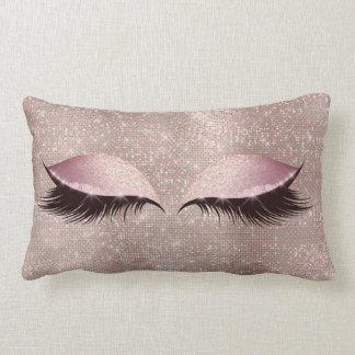 De Zwepen van het oog schitteren Zwarte Make-up Lumbar Kussen
