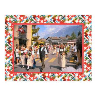 De Zwitserse Parade van de Dag van de Natie, Briefkaart