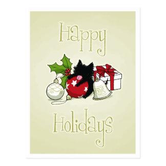 Decoratie en Zwart Katje (Gelukkig Vakantie) Briefkaart