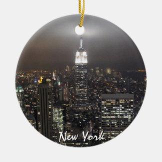Decoratie van de Herinnering van New York de Rond Keramisch Ornament