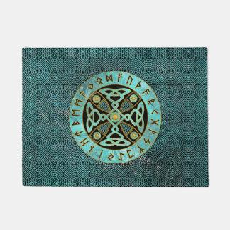 Decoratief Keltisch Kruis - en van Runen alfabet Deurmat