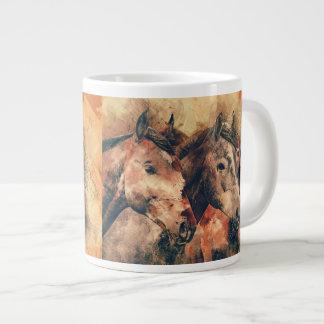 Decoratief Schilderen van de Waterverf van paarden Grote Koffiekop