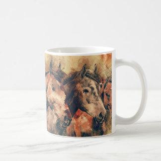 Decoratief Schilderen van de Waterverf van paarden Koffiemok