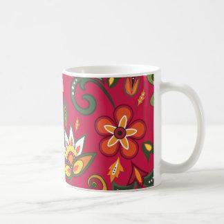 Decoratieve bloemenpatronen koffiemok
