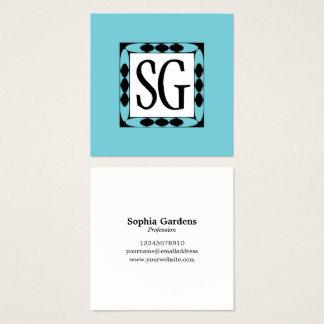 Decoratieve Doos 02 - Initialen - Robin Egg Blue Vierkante Visitekaartjes