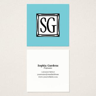 Decoratieve Doos - Initialen - Robin Egg Blue Vierkante Visitekaartjes