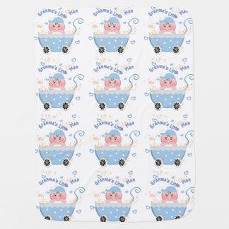 Deken van het Baby van het Man van blauwe Granma Inbakerdoek