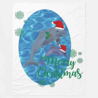 deken van Kerstmisdolfijnen van de Kerstman de