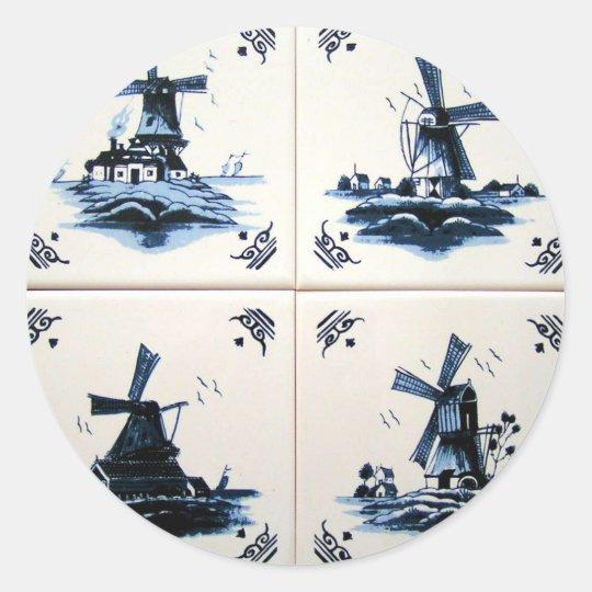 delft blue ronde sticker