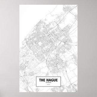 Den Haag, zwart Nederland (op wit) Poster