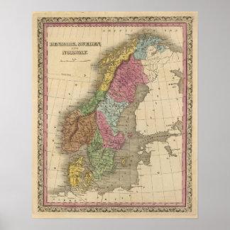 Denemarken, Zweden, Noorwegen Poster