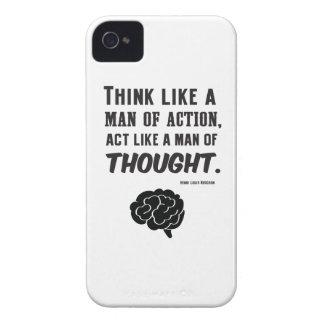 Denk als een man van actie - Henri Bergson Quote iPhone 4 Case-Mate Hoesje