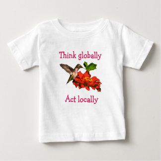 Denk globaal het Overhemd van de Kolibrie van het Baby T Shirts
