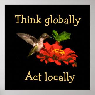 Denk globaal het Poster van de Kolibrie van het