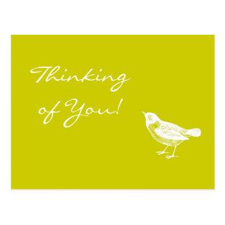 Denken van de Vogel van de vintage Mosterd het Briefkaart