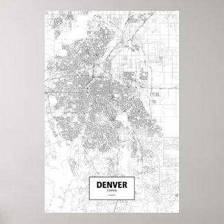 Denver, zwart Colorado (op wit) Poster