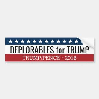 Deplorables voor Donald Trump Mike Pence - 2016 Bumpersticker