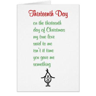 Dertiende Dag - een grappig gedicht van Kerstmis Kaart