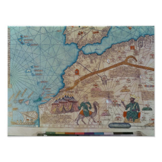 Detail van de Catalaanse Atlas, 1375 Poster