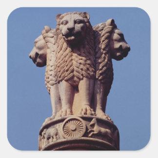 Detail van een Pijler Ashoka Vierkante Sticker