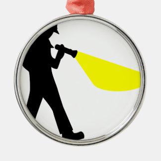 Detective met Flitslicht Zilverkleurig Rond Ornament
