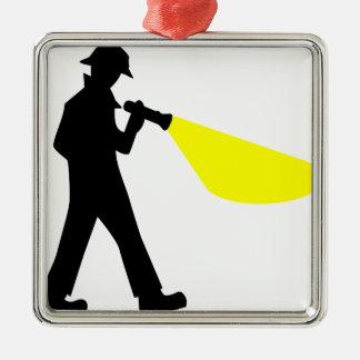 Detective met Flitslicht Zilverkleurig Vierkant Ornament