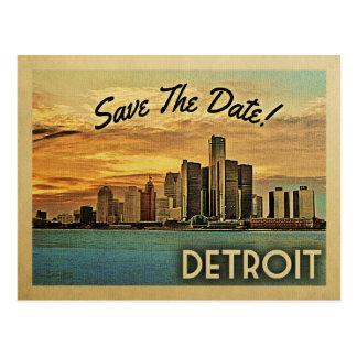 Detroit bewaart de Datum Michigan Briefkaart