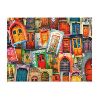 Deuren van de Unieke Kleurrijke Samenvatting van Canvas Print